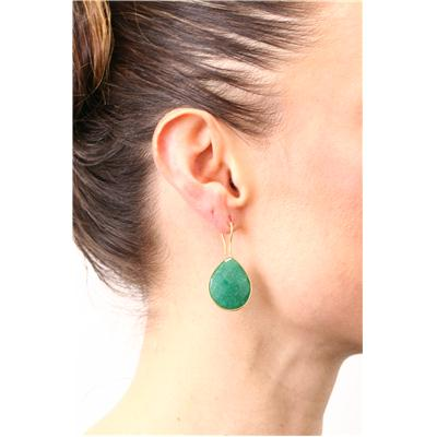 Emerald Tear Drop Earrings in 18K Gold Plated Sterling Silver