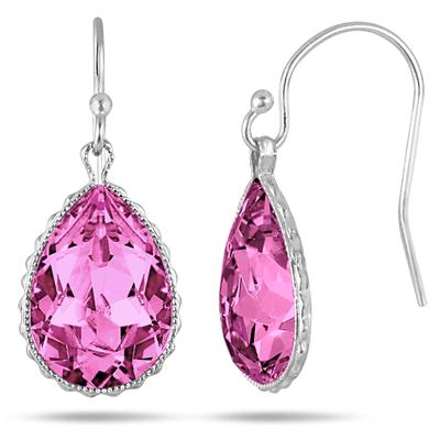Genuine Swarovski Pink Crystal Earrings in .925 Sterling Silver