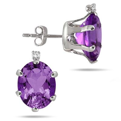 10x8mm Oval Amethyst and Diamond Stud Earrings in .925 Sterling Silver