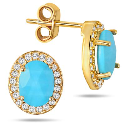 3 Carat Oval Turquoise and White Topaz Earrings in 18K Gold Plated Sterling Silver