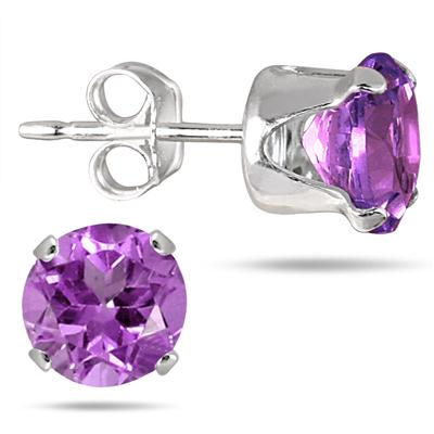 6MM Round All-Natural Genuine Amethyst Earrings in .925 Sterling Silver