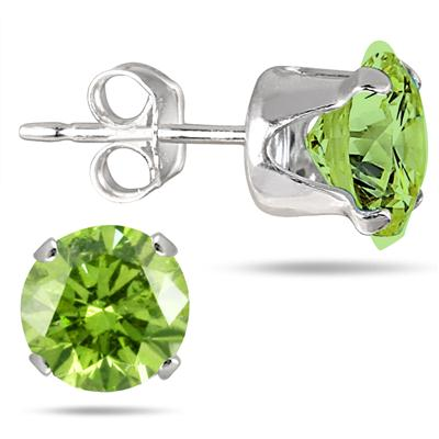 6MM Round All-Natural Genuine Peridot Earrings in .925 Sterling Silver