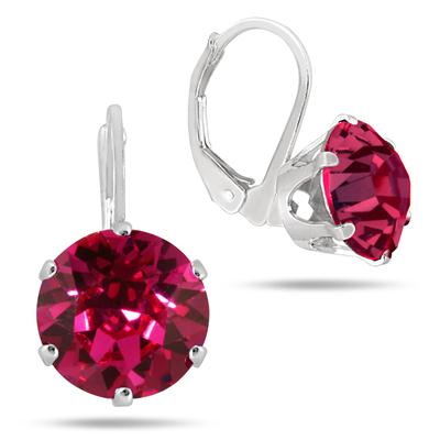 10MM Round Genuine SWAROVSKI Element Pink Crystal Lever Back Earrings in .925 Sterling Silver