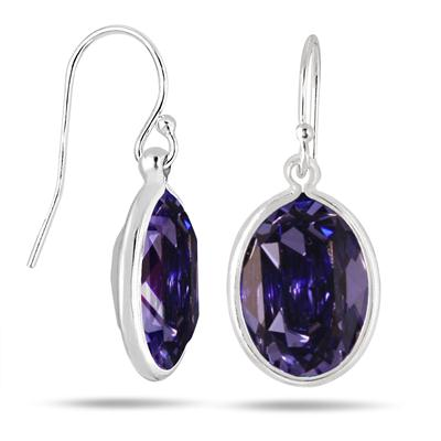 Genuine Swarovski Element Tanzanite Crystal Earrings in .925 Sterling Silver