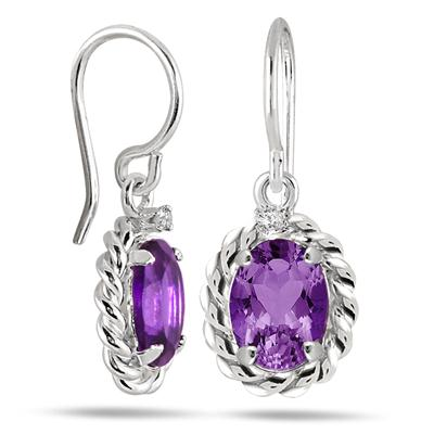 2.35 Carat Oval Amethyst and Diamond Antique Dangle Earrings in .925 Sterling Silver