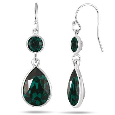 Genuine Swarovski Element Green Crystal Drop Earrings in .925 Sterling Silver