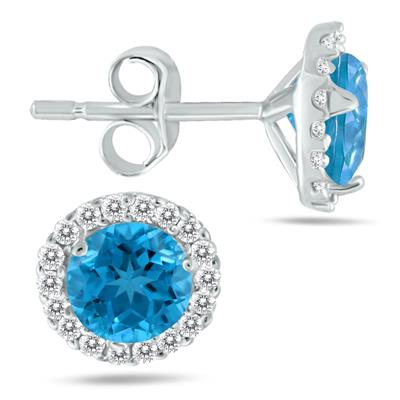 5MM Blue Topaz and Diamond Stud Earrings in 14K White Gold