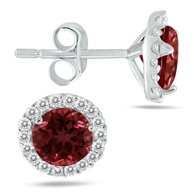 5MM Garnet and Diamond Stud Earrings in 14K White Gold