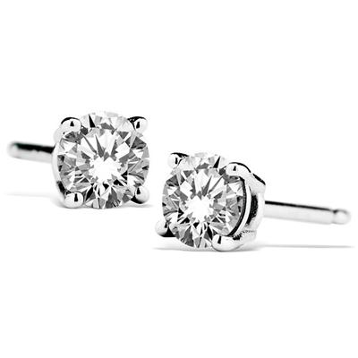 1/2 Carat Natural 4MM White Topaz Stud Earrings in .925 Sterling Silver