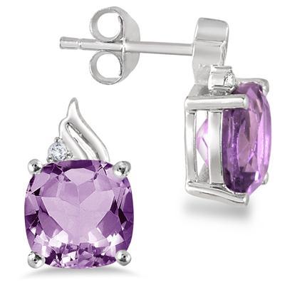 4.00 Carat Cushion Cut Amethyst and Diamond Earrings in .925 Sterling Silver