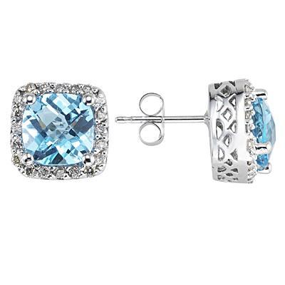 Cushion Cut Blue Topaz and Diamond Earrings 14K White Gold