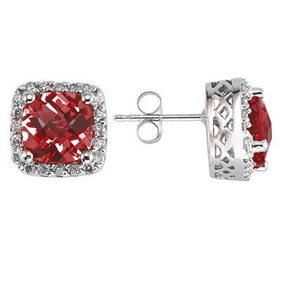 14K White Gold Cushion Cut  Garnet Earrings with Diamonds