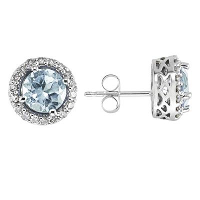 Aquamarine and Diamond Earrings 14k White Gold