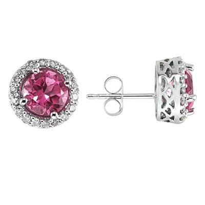 Pink Topaz and Diamond Earrings 14k White Gold