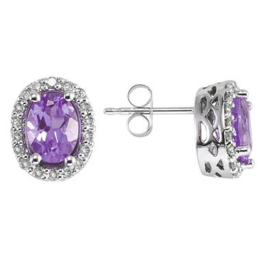 Oval Amethyst and Diamond Earrings in 14K White Gold