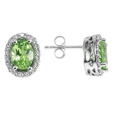 Oval Peridot and Diamond Earrings in 14K White Gold