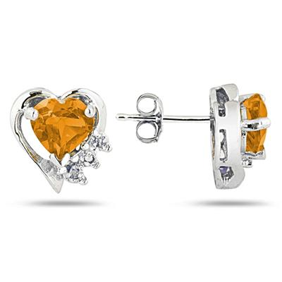 Citrine and Diamond Heart Earrings in White Gold