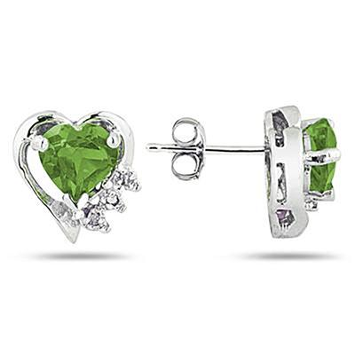 Peridot and Diamond Heart Earrings in 10k White Gold