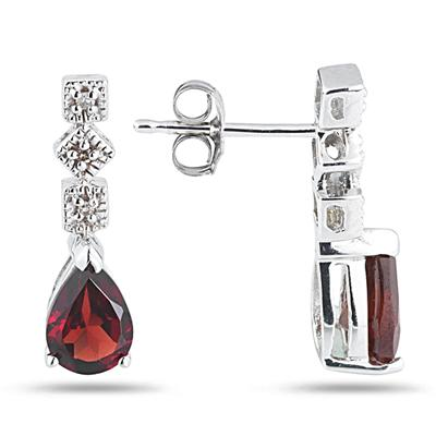 Garnet and Diamond Antique Earrings in 14K White Gold