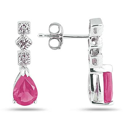 Pink Topaz and Diamond Antique Earrings in 14K White Gold