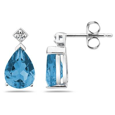 1.50CT Pear Shaped Blue Toapz  & Diamond Earrings in White Gold