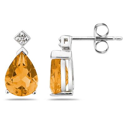 Pear Shaped Citrine & Diamond Earrings in White Gold