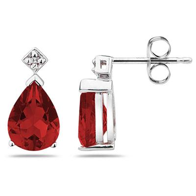Pear Shaped  Garnet & Diamond Earrings in White Gold
