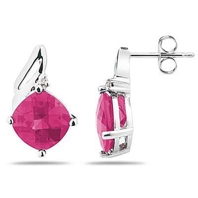 5.00 Carat Cushion Cut  Pink Topaz  & Diamond Earrings in 14K White Gold