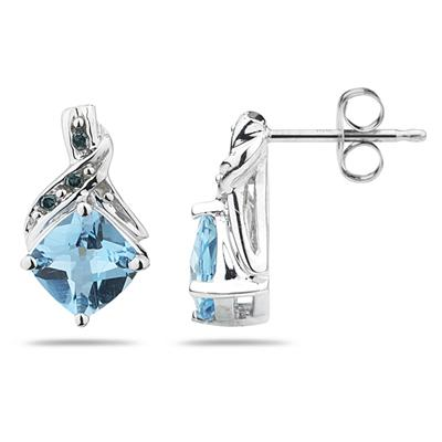 Blue Topaz & Blue Diamond Earrings in 14K White Gold