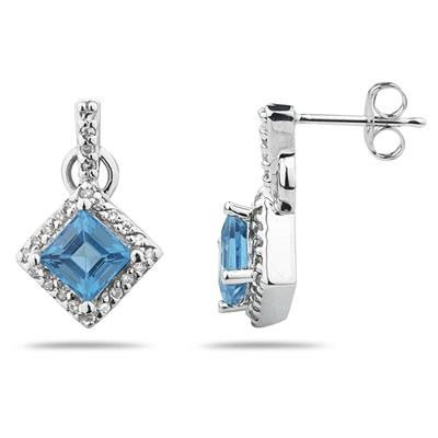 Princess Cut Blue Topaz & Diamond Earrings in 14K White Gold