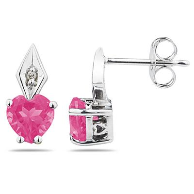 Heart Shape  Pink Topaz & Diamond Earrings in White Gold