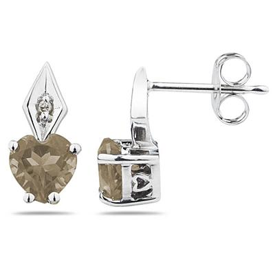 Heart Shape  Smokey Quartz  & Diamond Earrings in White Gold
