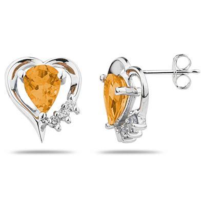 Pear Shaped   Citrine  & Diamond Heart Earrings