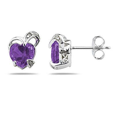 1.50CTW Heart Shape Amethyst & Diamond Earrings in 14K White Gold