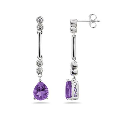 Amethyst  & Diamond Dangle Earrings in 14K White Gold