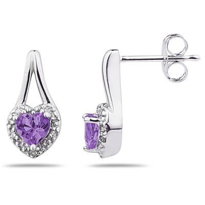 Amethyst  & Diamonds Heart Shape Earrings in White Gold