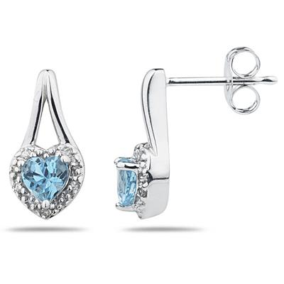 Blue Topaz & Diamonds Heart Shape Earrings in White Gold
