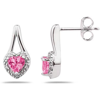Pink Topaz & Diamonds Heart Shape Earrings in White Gold