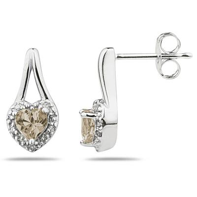 Smokey Quartz  & Diamonds Heart Shape Earrings in 10k White Gold