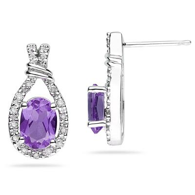 Amethyst  & Diamonds Oval Shape Earrings in White Gold