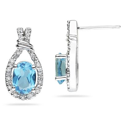 Blue Topaz & Diamonds Oval Shape Earrings in White Gold
