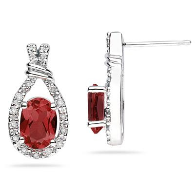 Garnet  & Diamonds Oval Shape Earrings in White Gold