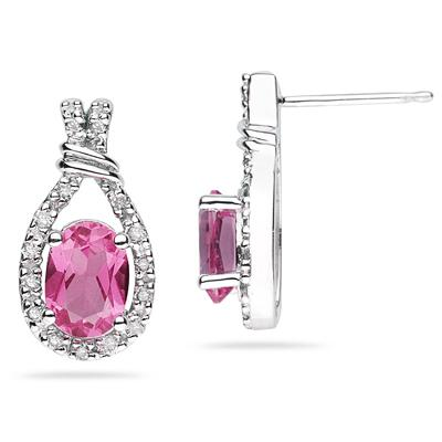 Pink Topaz & Diamonds Oval Shape Earrings in White Gold