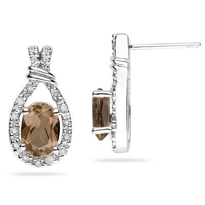 Smokey Quartz   & Diamonds Oval Shape Earrings in White Gold