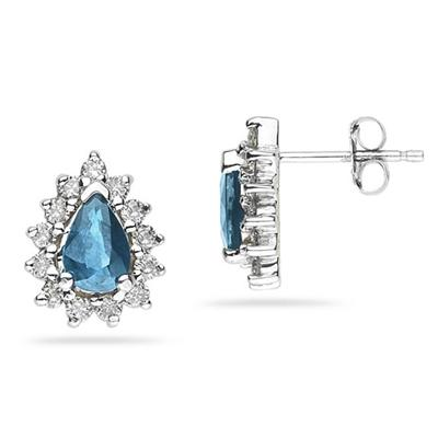 6X4mm Pear Shaped Blue Topaz and Diamond Flower Earrings in 14k White Gold