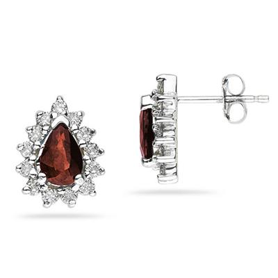 6X4mm Pear Shaped Garnet and Diamond Flower Earrings in 14k White Gold