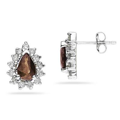 6X4mm Pear Shaped Smokey Quartz and Diamond Flower Earrings in 14k White Gold