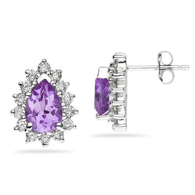 7X5mm Pear Shaped Amethyst and Diamond Flower Earrings in 14k White Gold