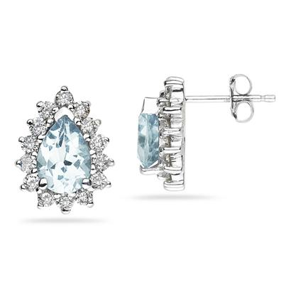 7X5mm Pear Shaped Aquamarine and Diamond Flower Earrings in 14k White Gold