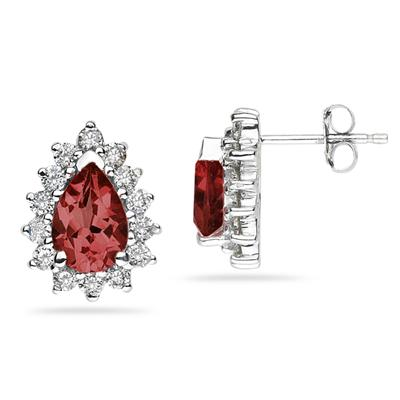 7X5mm Pear Shaped Garnet and Diamond Flower Earrings in 14k White Gold